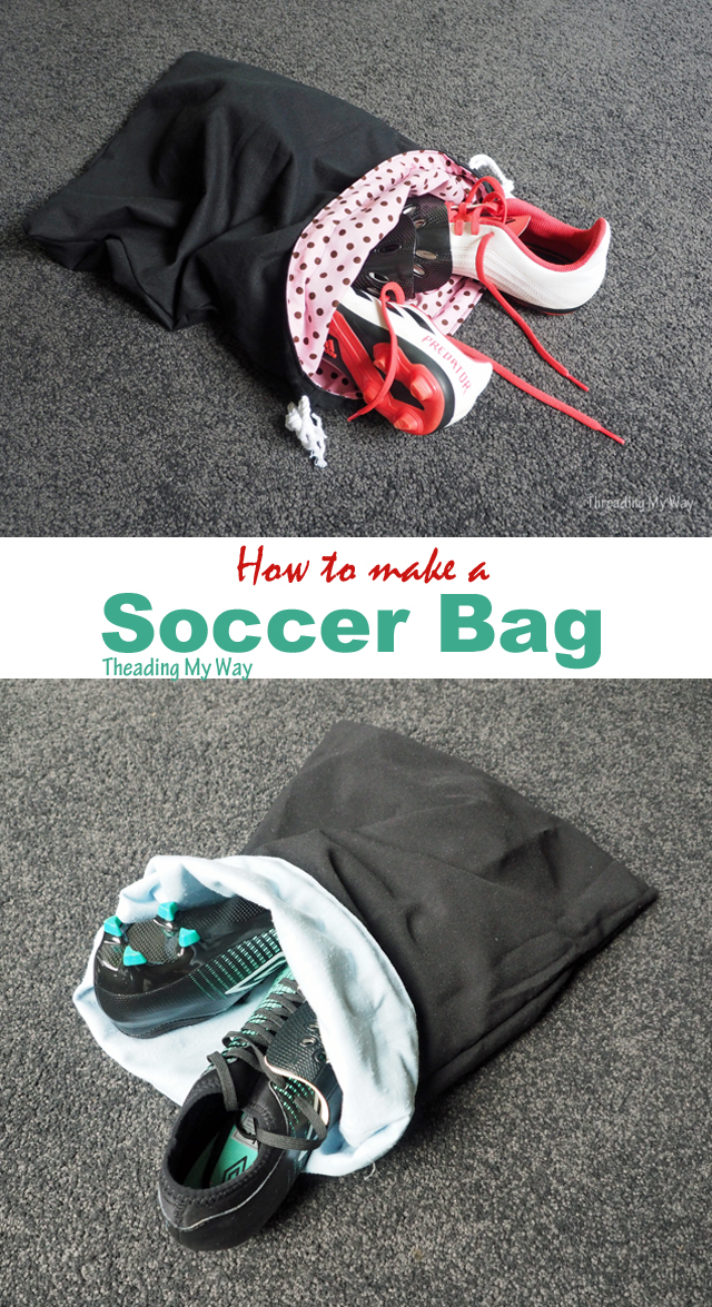 Make a bag to carry soccer boots and shin pads. Drawstring bag tutorial by Threading My Way.