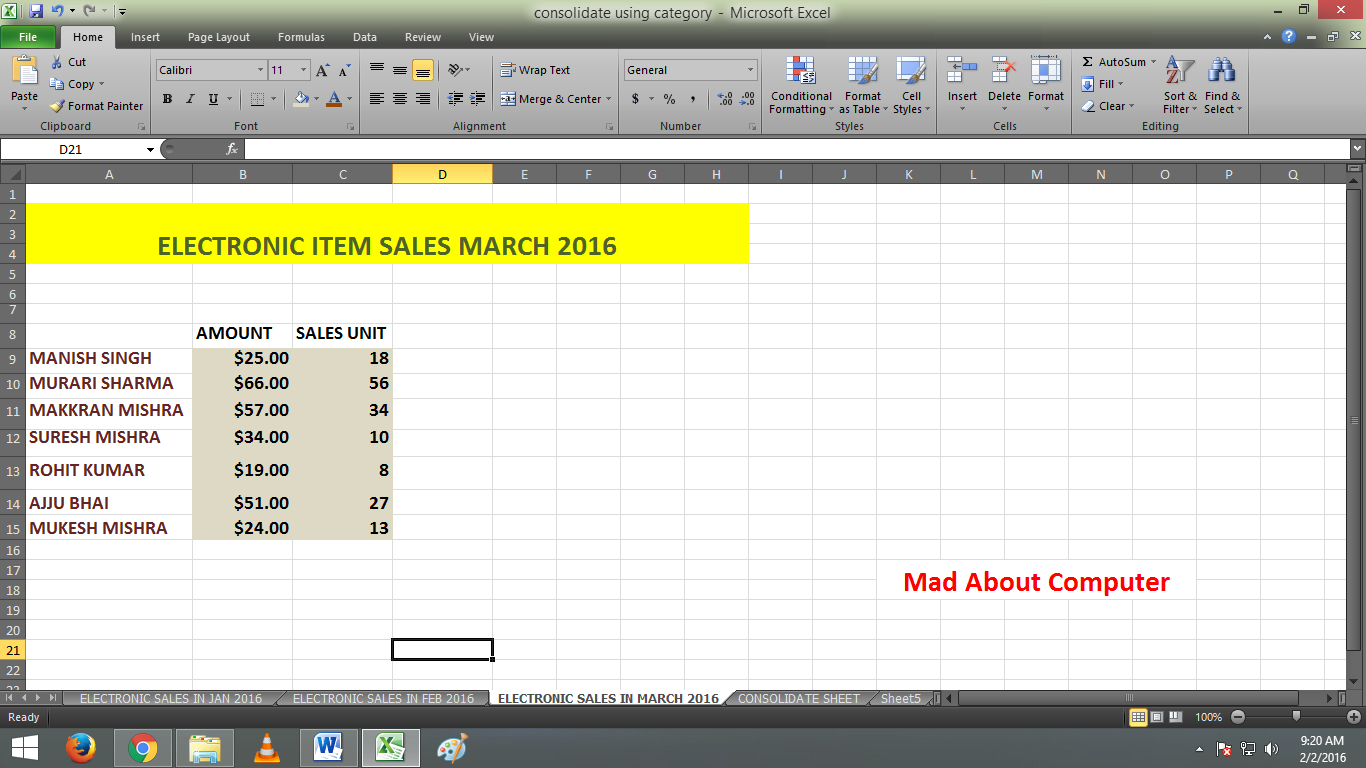 Basic Consolidate In Excel By Using Category And Label Mad About Computer