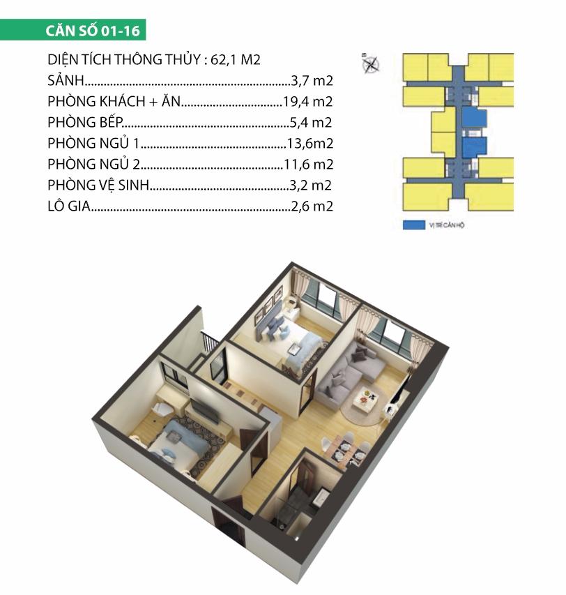 Thiết kế căn 01-16 chung cư Housinco Premium