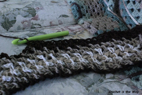 crochet, scarf, afghan, WIP, work in progress, yarn scraps