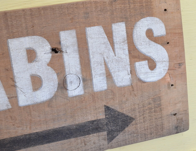 Make a hanging sign from the side of an old crate
