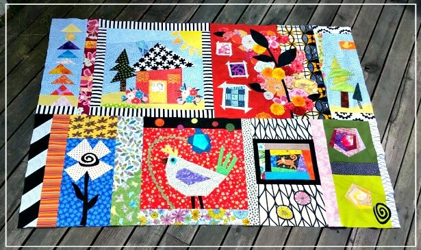Puppilalla, Round Robin Quilt, Crazy Barn Quilt, The Rakish Needle, Modern Quilting