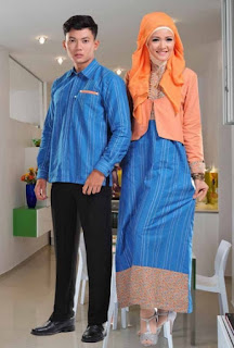 Baju muslim couple biru orange modis