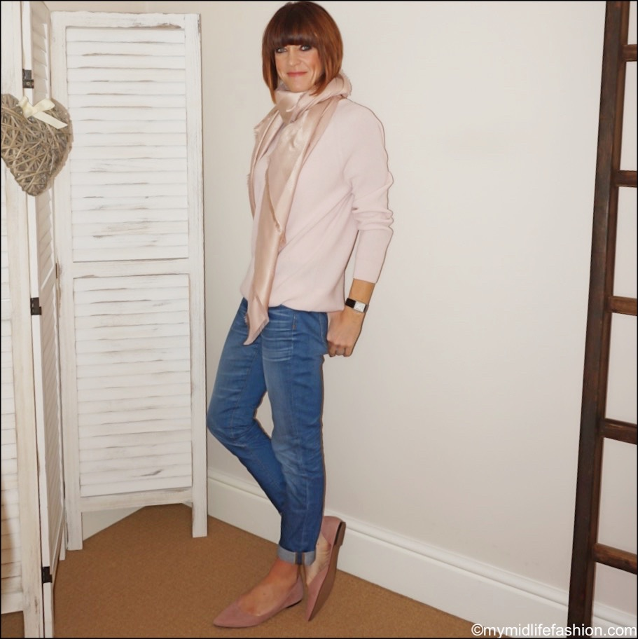 my midlife fashion, j crew boyfriend jeans, mulberry silk and cashmere square tree scarf, h and m suede pointed ballet flats, Peter Hahn jumper in 100 percent cashmere