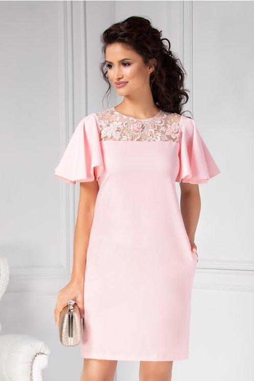 Rochie de seara scurta dreapta eleganta roz cu broderie 3D