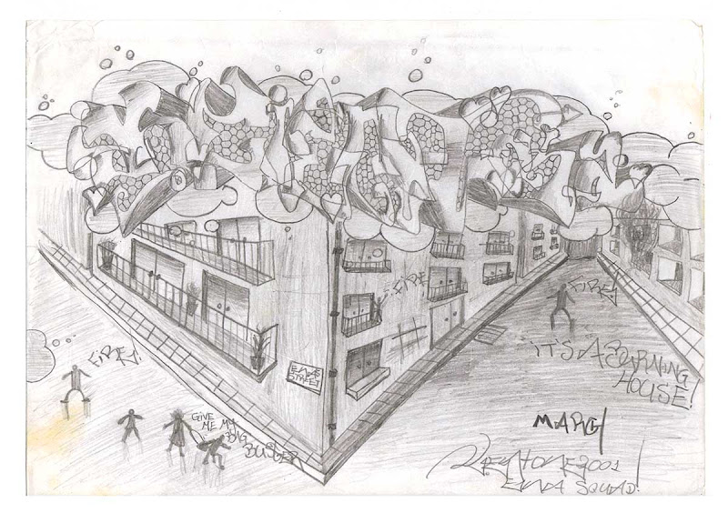 Kent Ena Wild Style on the Top with Buildings on Fire Beneath - Sketch with Pencil. Original naive, vintage graffiti sketch on copy paper by Kostas Gogas (akney), signed as Kent from his first Folder, 2001. ENA graffiti crew.