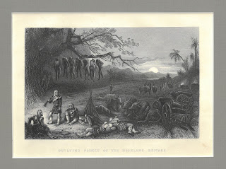 "Scene depicting bodies hanging from a tree captioned ""Outlying Picket of the Hihland Brigade"""