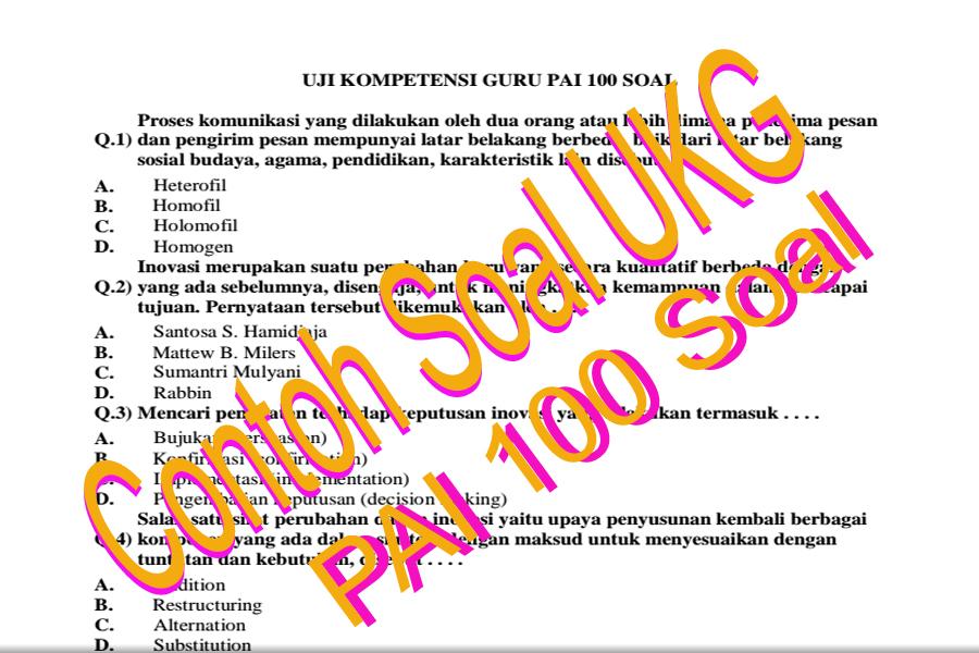 Download Latihan Soal Uji Kompetensi Awal Uka Ukg