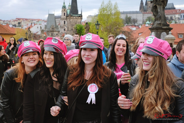 Pink Biker Caps, Bridal Shower - The Charles Bridge in Spring Prague by Travel and Lifestyle Photographer Kent Johnson.