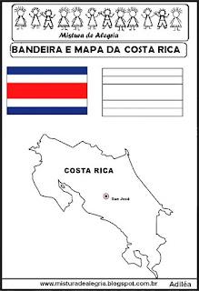 Bandeira e mapa da Costa Rica