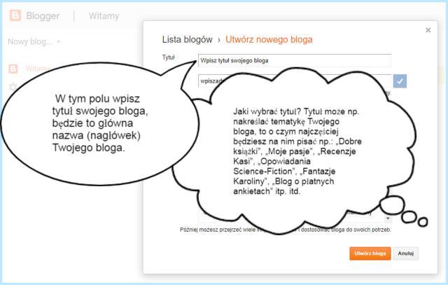 Tworzenie tytułu bloga na platformie Blogger.