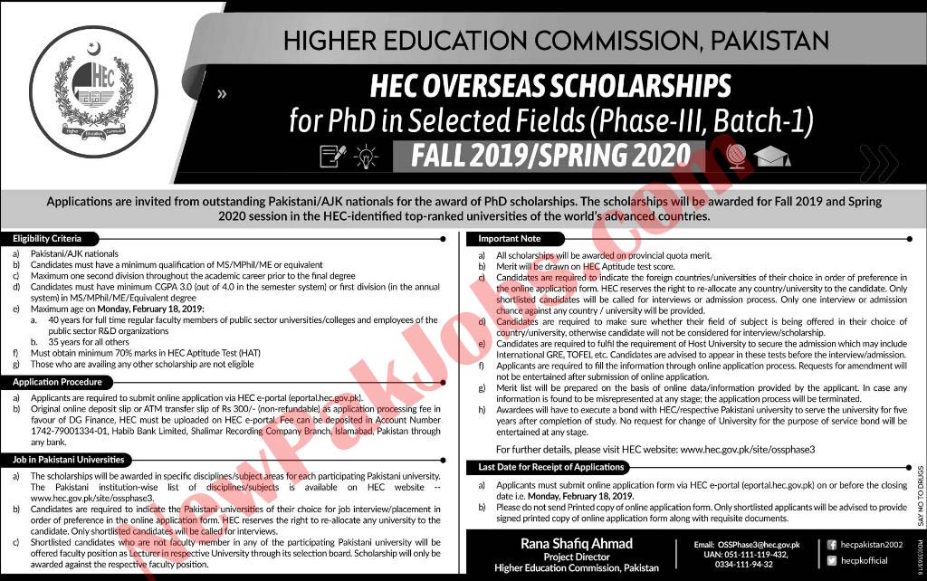 Higher Education Commission Pakistan HEC Overseas Scholarships 2019