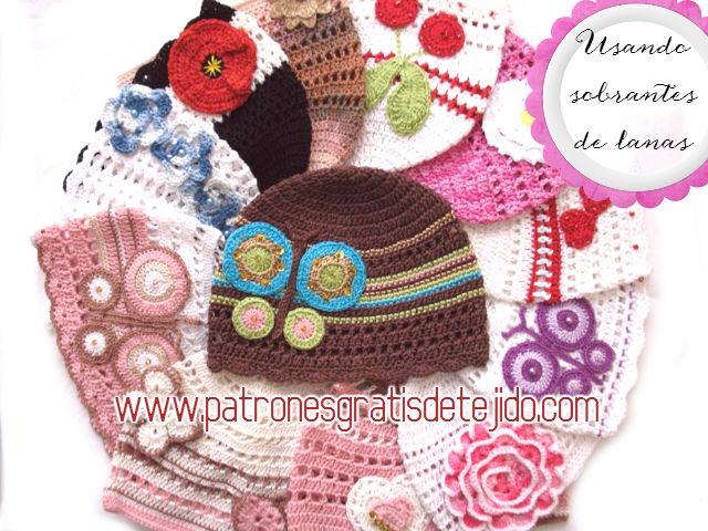 gorros para niños tejidos con sobrantes de hilos y decorados con apliques 9356dbbadff