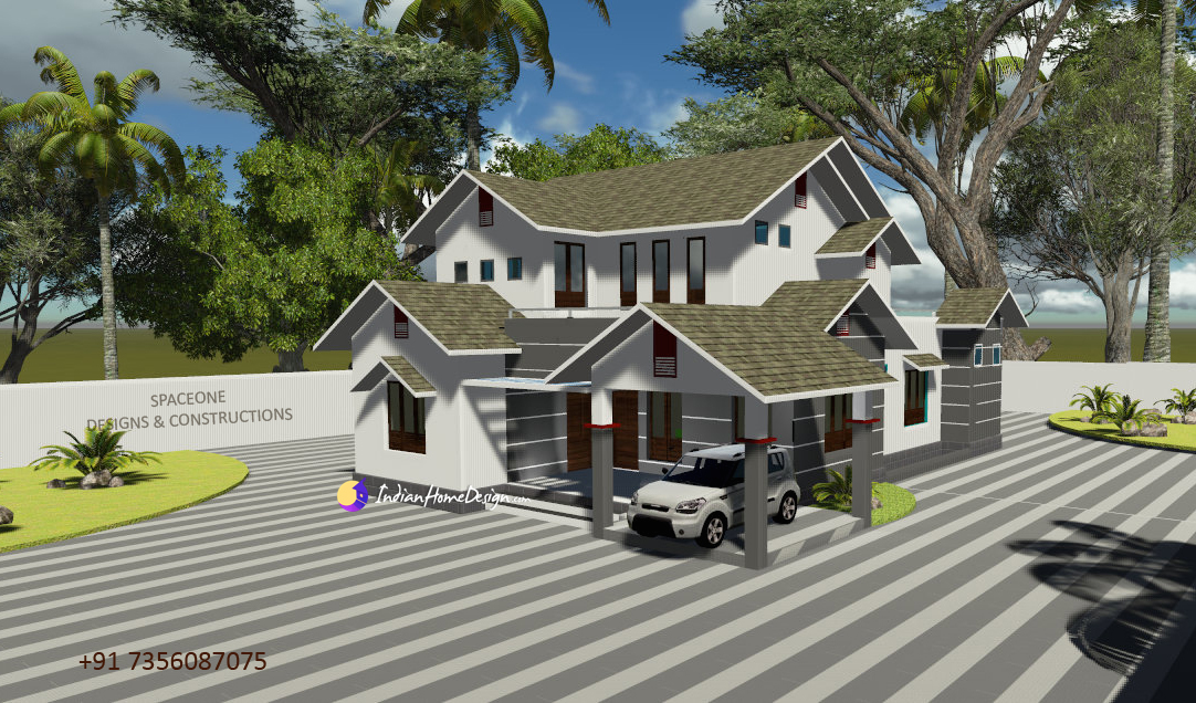 2300 sqft Modern Sloping Roof Kerala House design for 5 cent plot by Spaceone Designers & Constructions