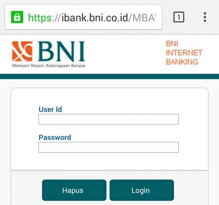 Tampilan Halaman Login Internet Banking BNI