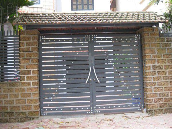 Mẫu cửa cổng sắt 2 cánh đẹp GH26