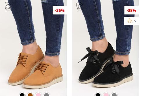 Pantofi dama negri,Camel moderni ieftini cu sireturi