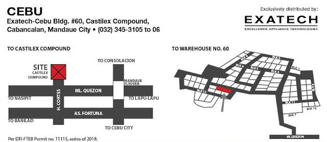 Exatech warehouse sale location whirlpool, fujidenzo, tecnogas