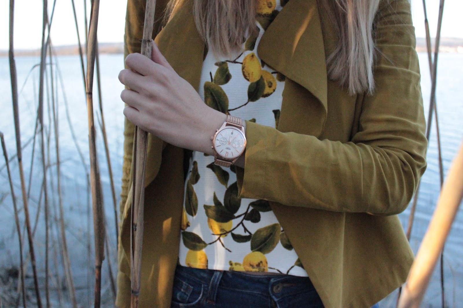 Fashion Outfit Moos Bodensee Zara Zitronen Olive Blazer Henry London Uhr