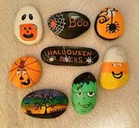 Decoración para Halloween con piedras pintadas