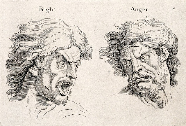 drawing of faces of an angry man and a frightened man