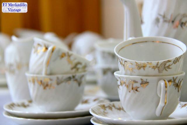 """Juego de Café Porcelana vintage """"Royal Gijón"""""""