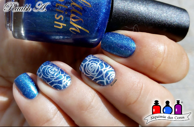 Unhas carimbadas, BP-73, BP-L061, Nail Art, Esmalte Holográfico, Color Club Crystal Baller, Delush Polish King of the Watch, Holo, azul, Raabh A.