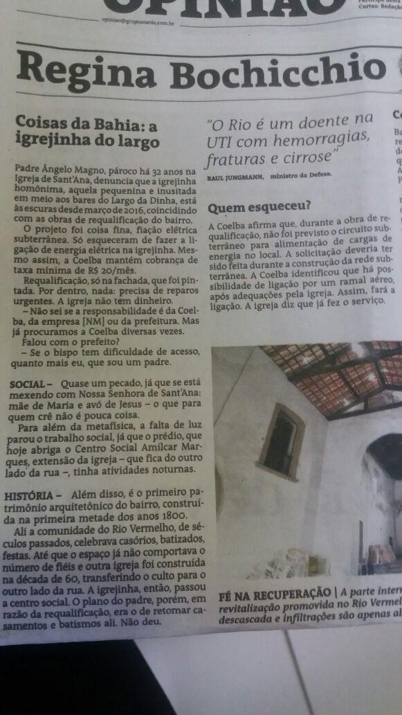 Situação precária da Igrejinha de Sant´Anna é notícia na coluna do Jorna A Tarde