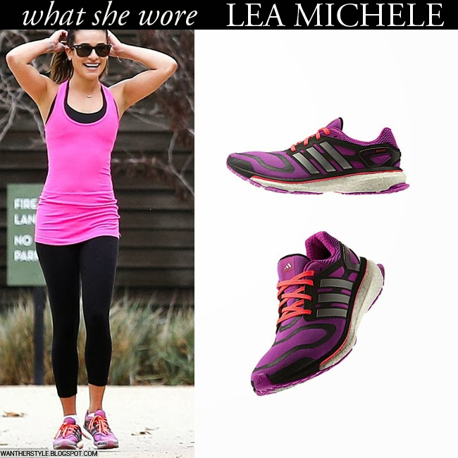 4f397a0ddd WHAT SHE WORE  Lea Michele in purple Adidas sneakers with pink top ...