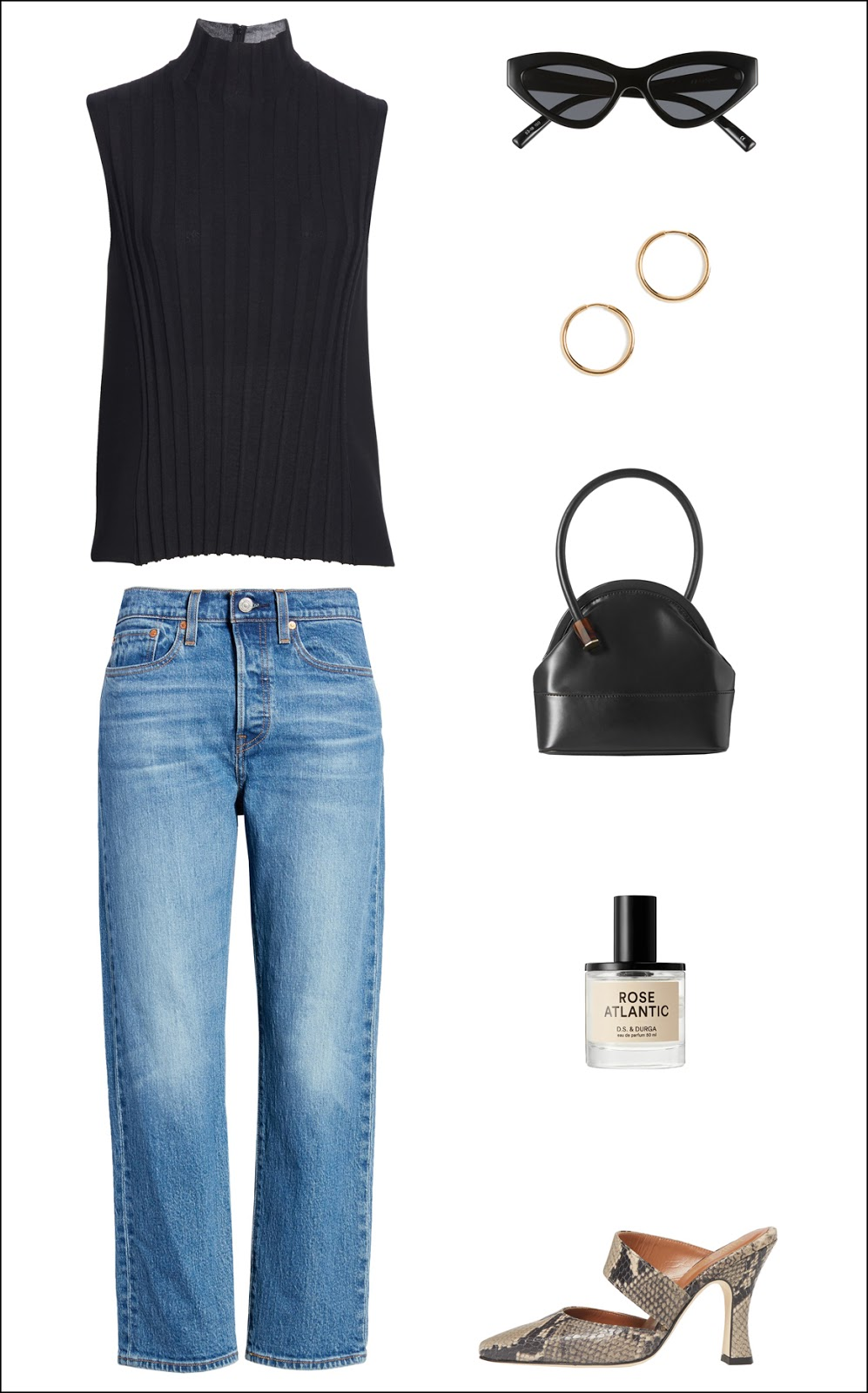 Dressed Up Denim Spring Outfit Idea — Black Sleeveless Top, Cat-Eye Sunglasses, Gold Hoop Earrings, Black Mini Bag, Levi's Jeans, Rose Fragrance, and Snake-Print Mules