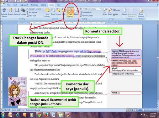 cara merevisi naskah dengan track changes