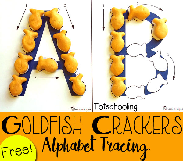 Goldfish Crackers Alphabet Tracing Free on Cut Out Worksheets For Kindergarten