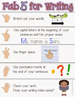 Student Friendly Writing Checklist Fab 5 for Writing