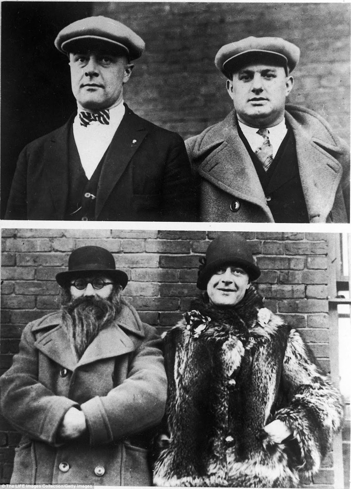 Prohibition-era policemen Moe Smith (on the left in top picture, on the right on the bottom picture) and Izzy Einstein (on the right in the top picture, on the left in the bottom picture). The pair would use disguises to infiltrate speakeasies.