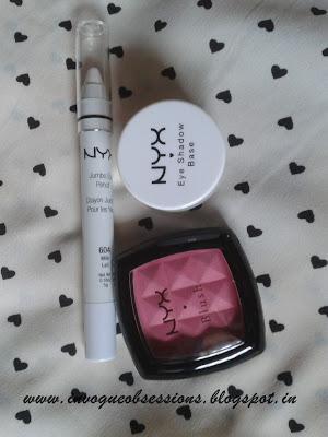 NYX Eye shadow base in White, NYX Jumbo Pencil in Milk, NYX Blush in Peach India