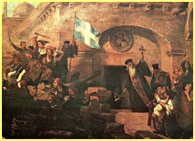 Pintura que representa la toma del monasterio