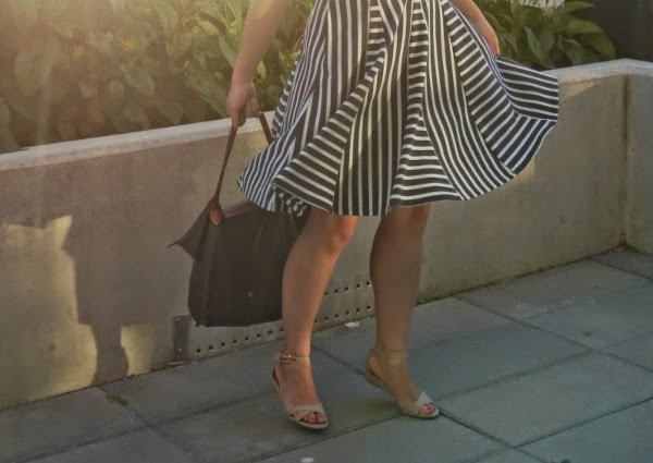 Striped skirt and low-wedge espadrille sandals