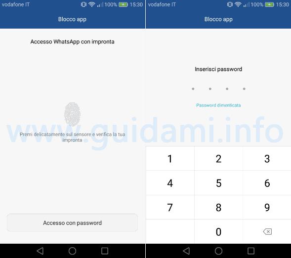 Huawei accesso con impronta a applicazione bloccata