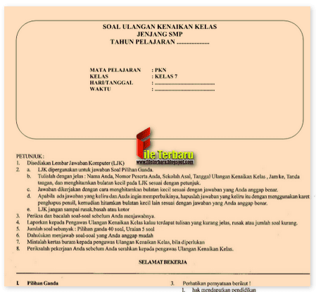Latihan Soal UAS PKN SMP Kelas 7