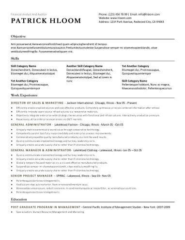 resume templates for any industries