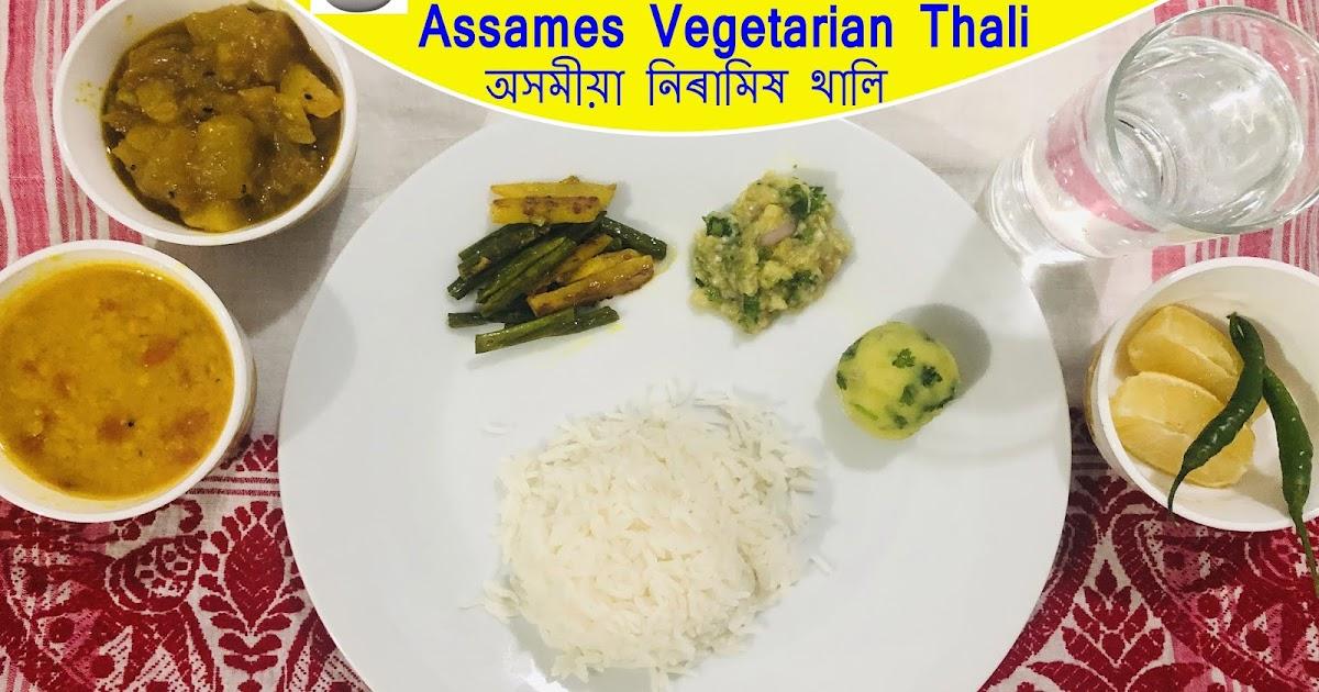Assamese Vegetarian Thali  Simple Vegetarian Thali Recipe -8924