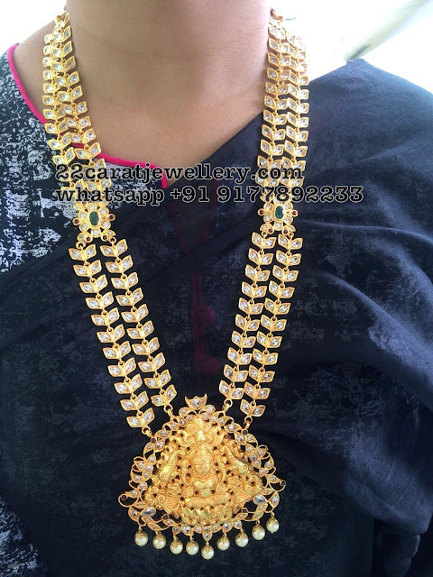 Lakshmi Haram in Silver with CZ Stones