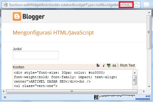 tampilan edit HTML JAVASCRIPT gadget blog