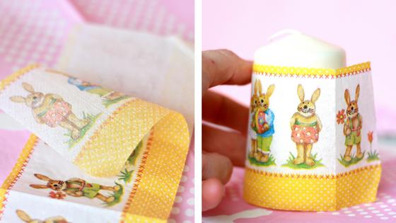 Ostergeschenk basteln: Serviette abziehen