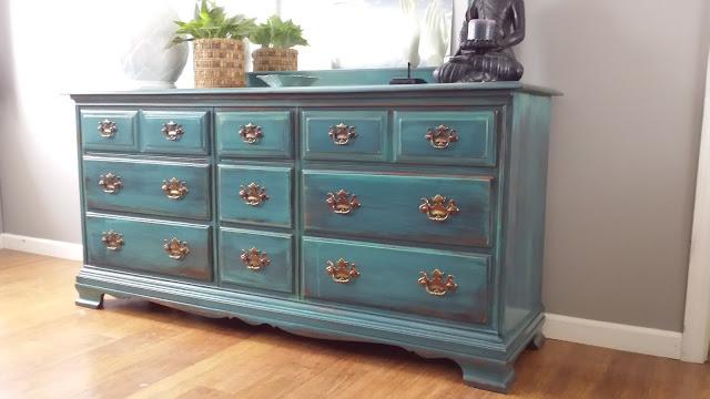 Bohemian Painted dresser, teal