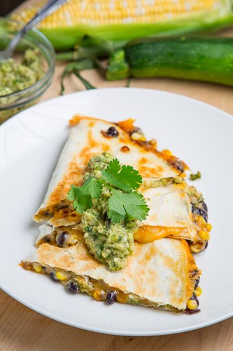 Caramelized Corn and Black Bean Quesadillas with Roast Zucchini Salsa