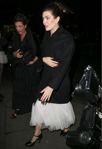 Charlotte Casiraghi of Monaco wore a white Giambattista Valli Long Sleeve V-Neck dress for Montblanc and Unıcef Gala Dinner
