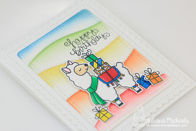 Llama Birthday Card by Juliana Micheals with Distress Ink Die Cut Rainbow Background featuring stamps by Newton's Nook Designs