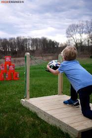 DIY backyard sling shot yard game