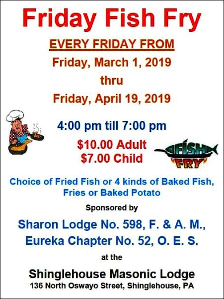 3-29 Fish Fry, Masonic Lodge, Shinglehouse